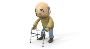 ピックアップ式歩行器を使用している高齢者