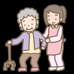 杖歩行者の介助のイラスト