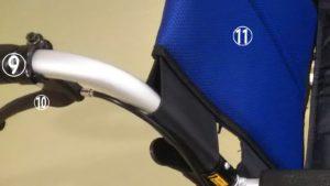 車椅子のバックレストやグリップの写真